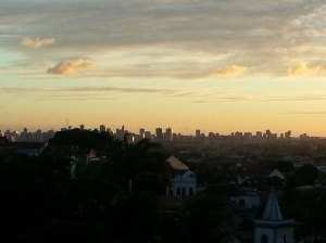 sun setting over Recife